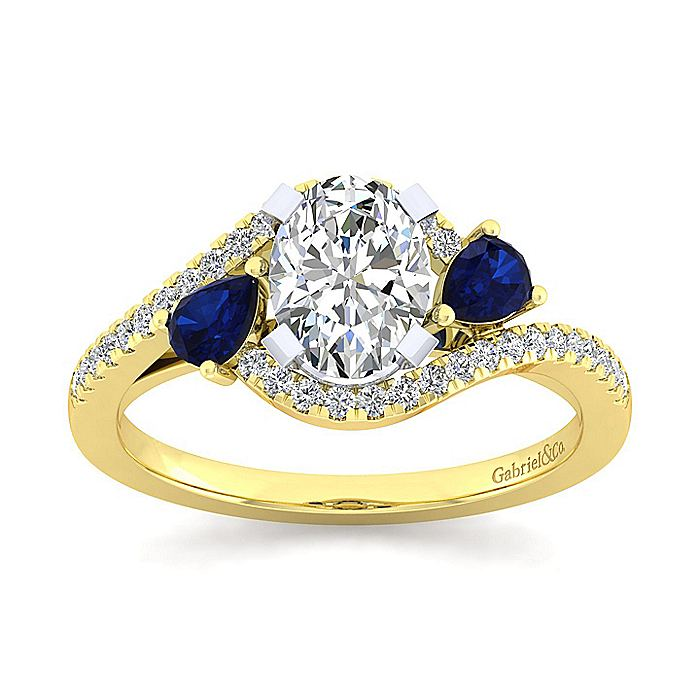 14K White-Yellow Gold Oval Three Stone Sapphire and Diamond Engagement Ring