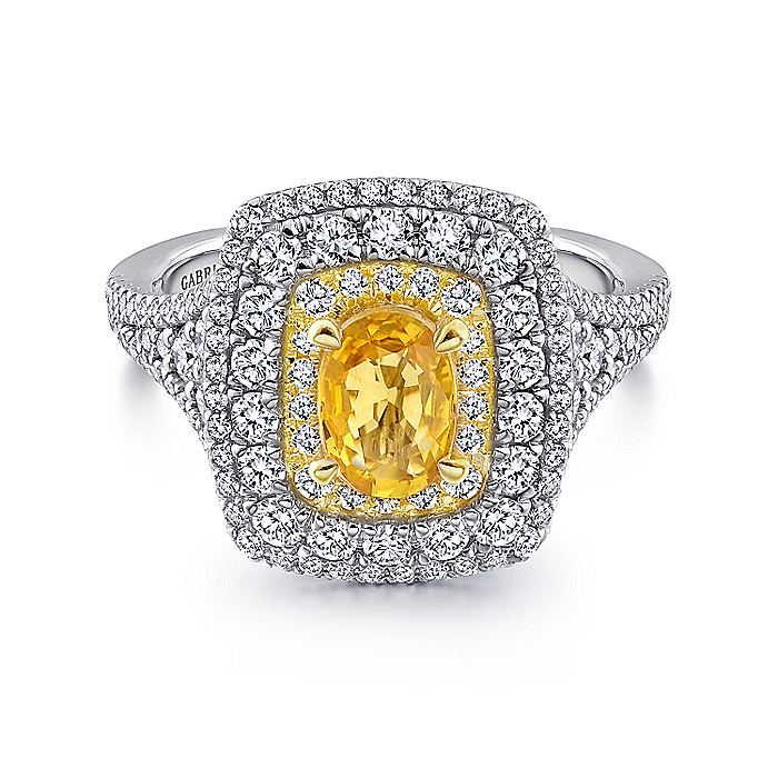 14K White-Yellow Gold Oval Yellow Sapphire and Diamond Triple Halo Engagement Ring