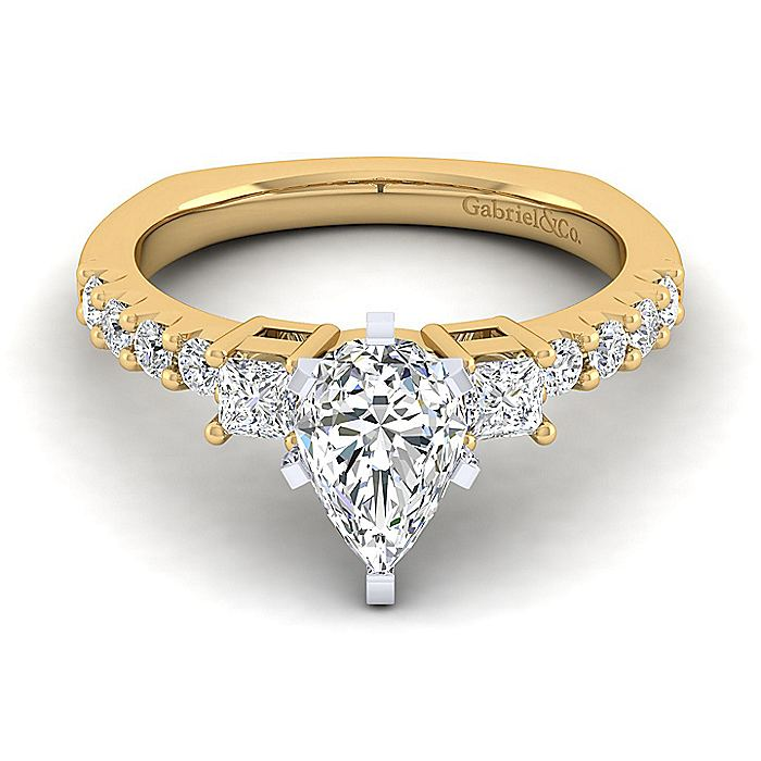 14K White-Yellow Gold Pear Shape Three Stone Diamond Engagement Ring