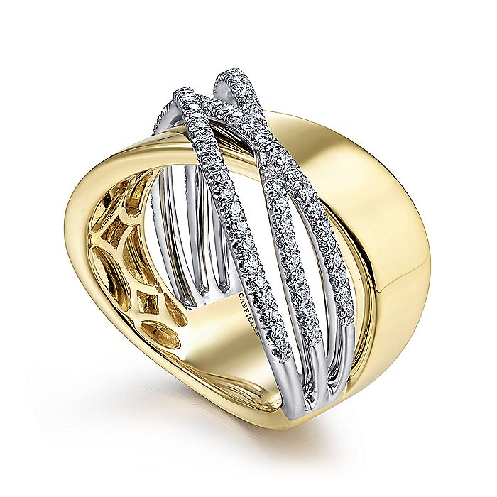 14K White-Yellow Gold Polished and Diamond Bands Criss Cross Ring