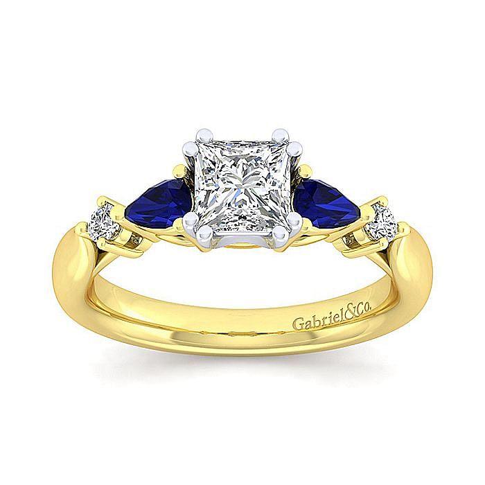 14K White-Yellow Gold Princess Cut Five Stone Sapphire and Diamond Engagement Ring