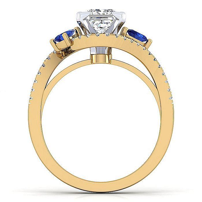 14K White-Yellow Gold Princess Cut Three Stone Sapphire and Diamond Engagement Ring