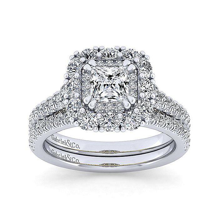14K White-Yellow Gold Princess Double Halo Diamond Engagement Ring