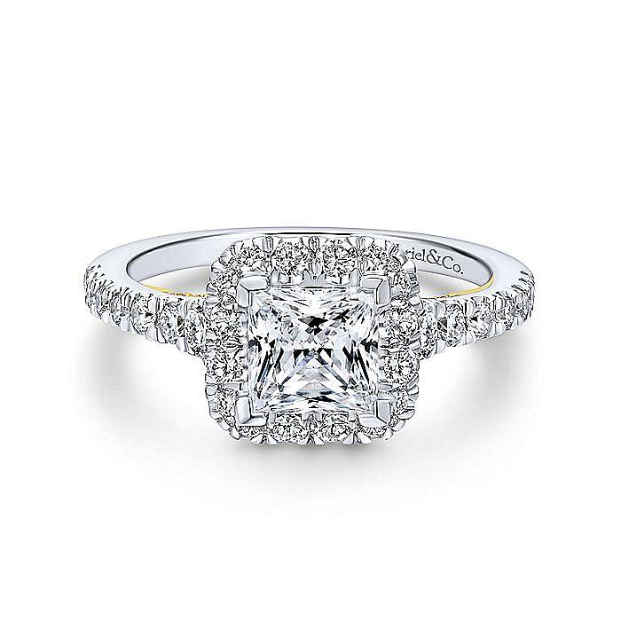 14K White-Yellow Gold Princess Halo Diamond Engagement Ring