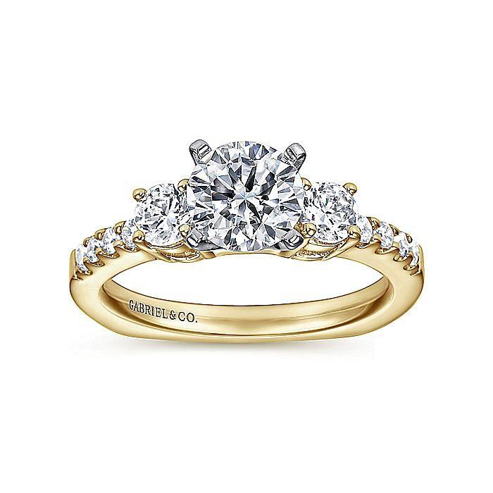 14K White-Yellow Gold Round Diamond Three Stone Engagement Ring