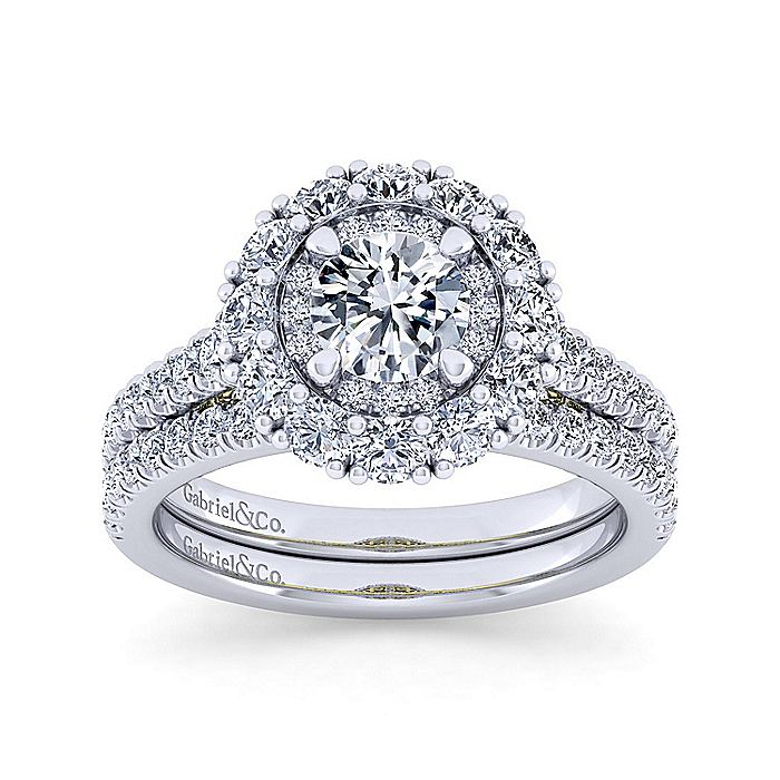 14K White-Yellow Gold Round Double Halo Diamond Engagement Ring