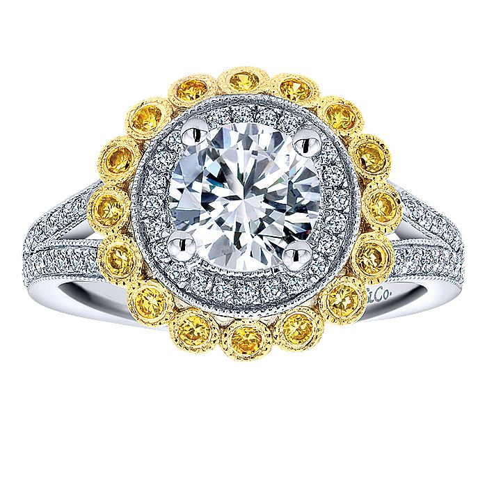 14K White-Yellow Gold Round Double Halo Yellow Sapphire and Diamond Engagement Ring