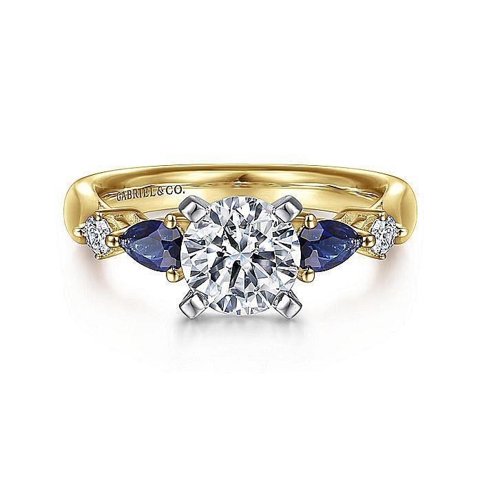 14K White-Yellow Gold Round Five Stone Sapphire and Diamond Engagement Ring