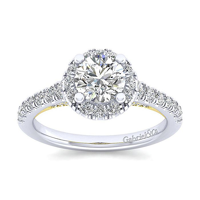 14K White-Yellow Gold Round Halo Diamond Engagement Ring