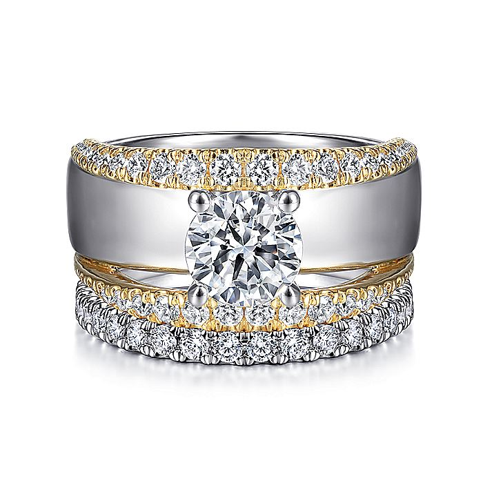 14K White-Yellow Gold Round Split Shank Diamond Engagement Ring