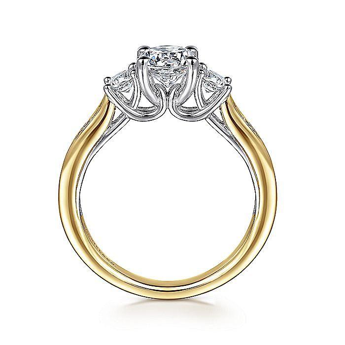 14K White-Yellow Gold Round Three Stone Diamond Engagement Ring