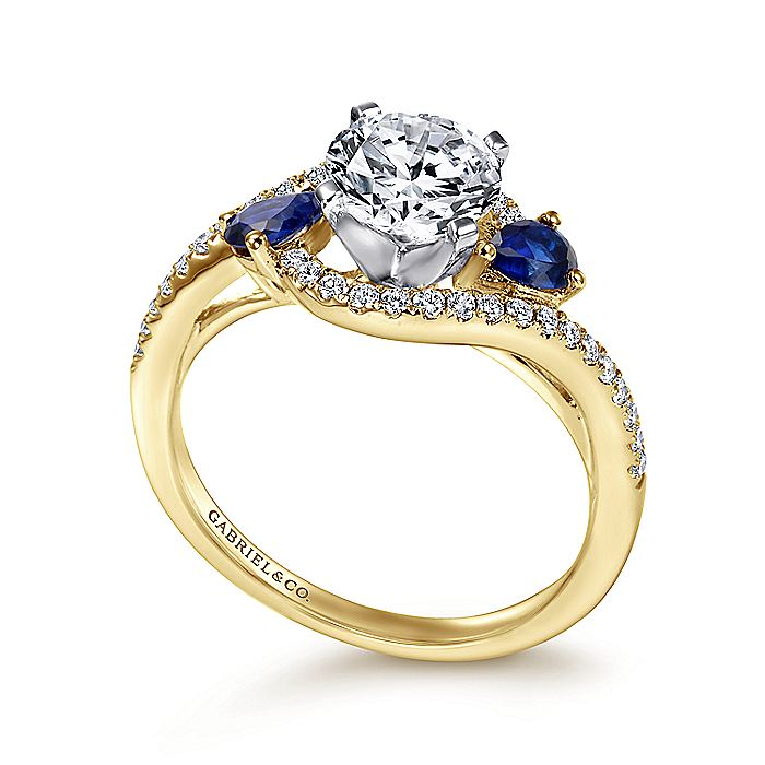 14K White-Yellow Gold Round Three Stone Sapphire and Diamond Engagement Ring