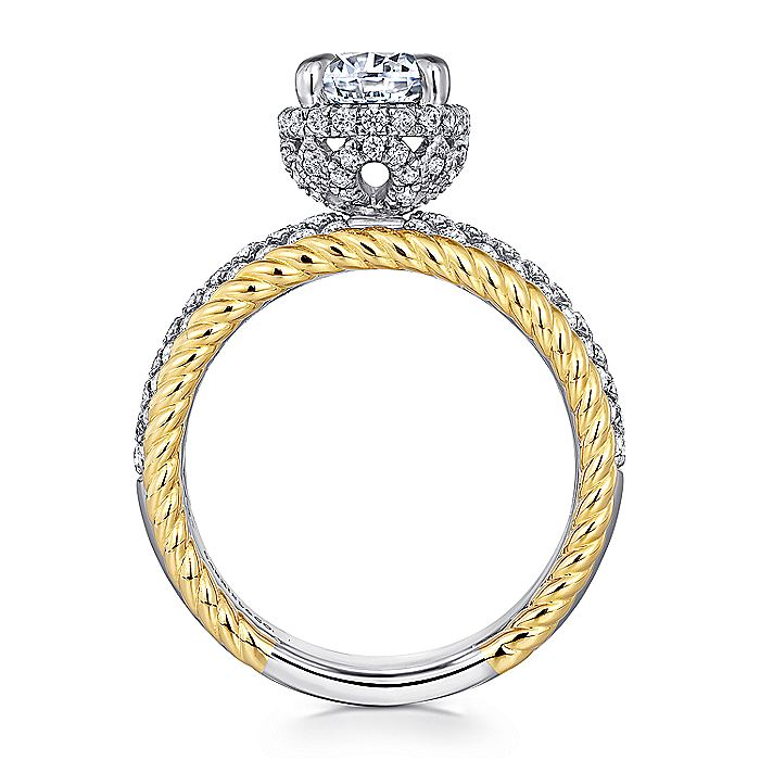 14K White-Yellow Gold Round Wide Band Diamond Engagement Ring