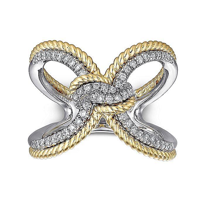 14K White-Yellow Gold Split Shank Diamond Knot Ring