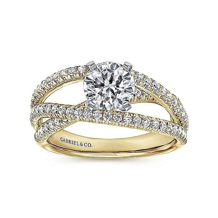 14K White-Yellow Gold Split Shank Round Diamond Engagement Ring