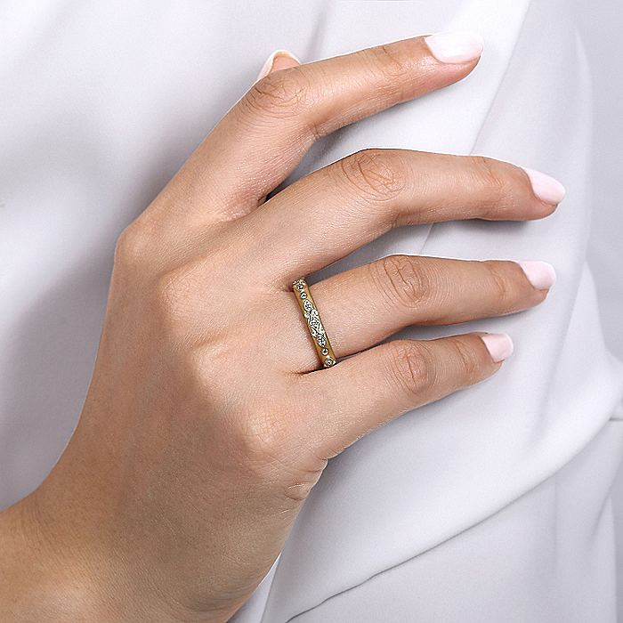 14K White-Yellow Gold Swirling Diamond Stackable Ring