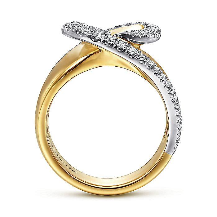 14K White-Yellow Gold Swirling Metal and Diamond Statement Ring