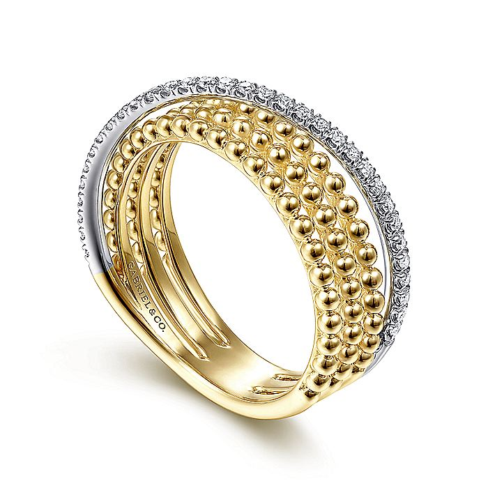 14K White-Yellow Gold Three Row Bujukan Ball and Diamond Band Ring