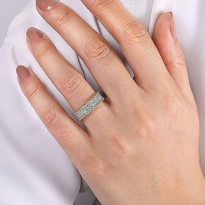 14K White-Yellow Gold Three Row Diamond and Bujukan Bead Ring