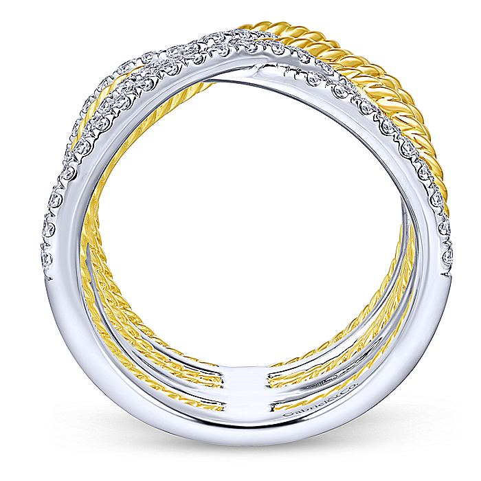 14K White-Yellow Gold Twisted Criss Cross Wide Band Diamond Ring