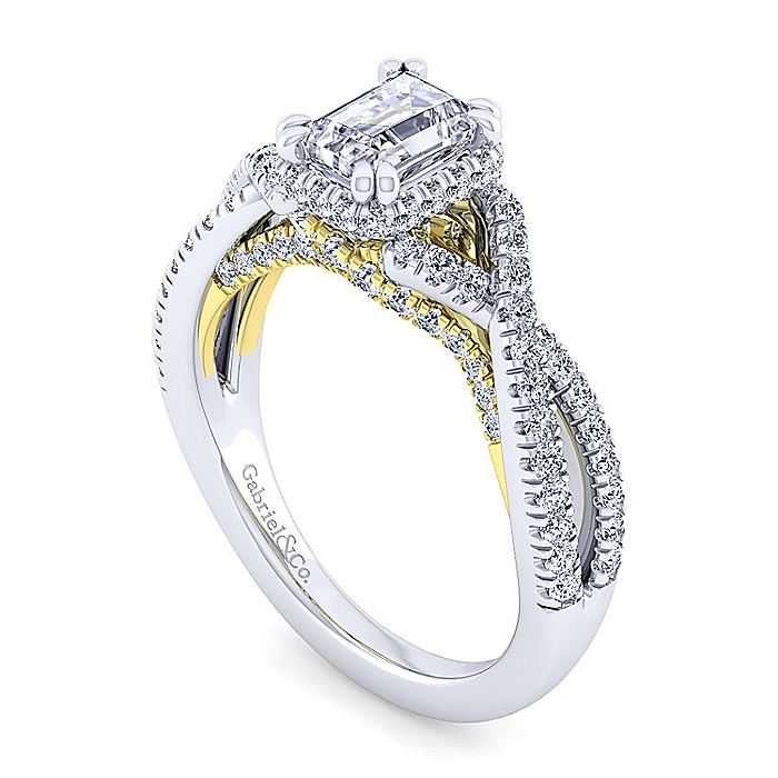 14K White-Yellow Gold Twisted Emerald Cut Diamond Engagement Ring