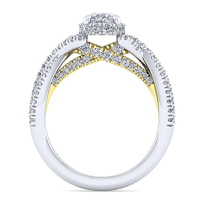14K White-Yellow Gold Twisted Oval Diamond Engagement Ring