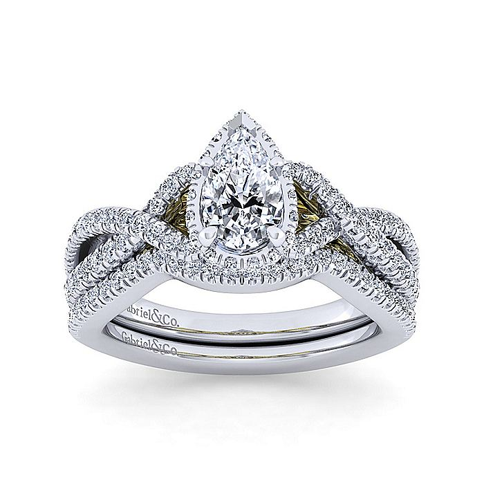 14K White-Yellow Gold Twisted Pear Shape Diamond Engagement Ring