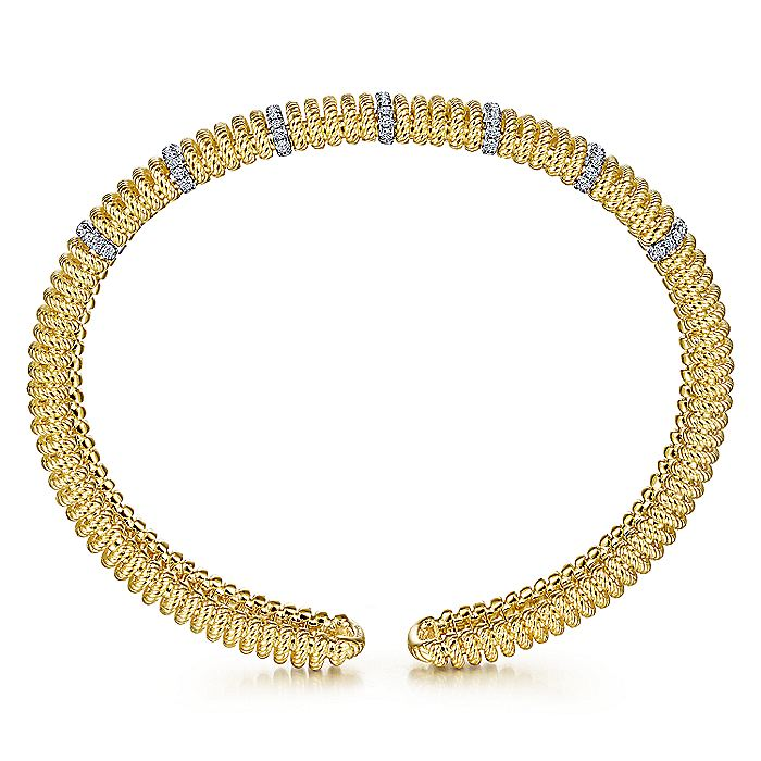 14K White-Yellow Gold Twisted Rope Cuff Bracelet with Diamond Stations
