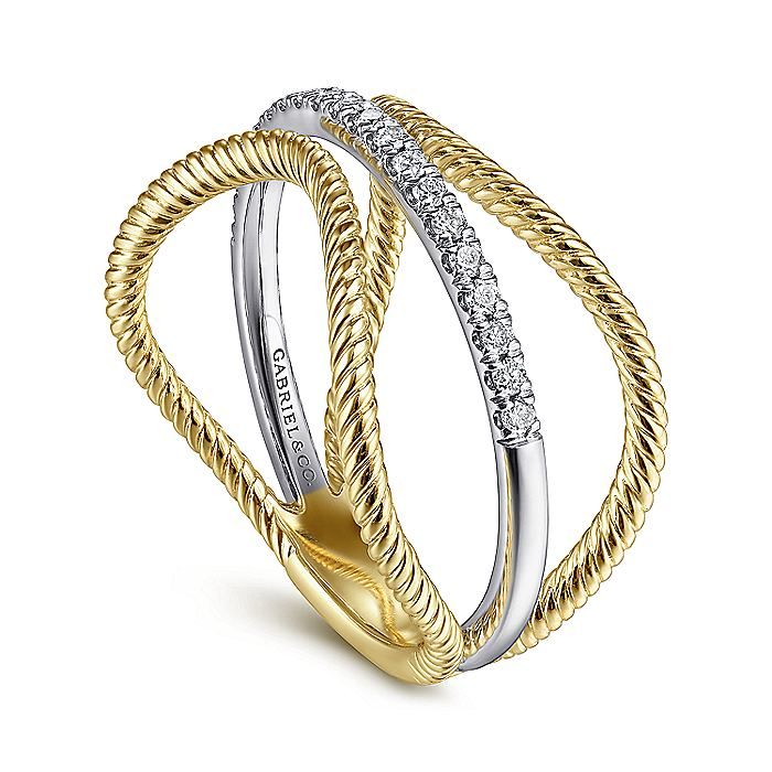 14K White-Yellow Gold Twisted Rope Three Row Curving Diamond Ring