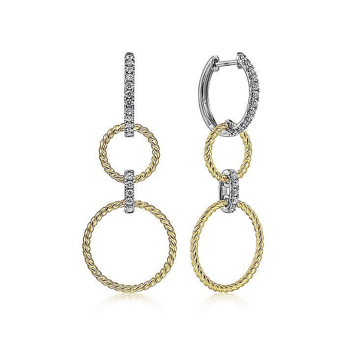 14K White-Yellow Gold Twisted Rope and Diamond Open Circle Huggie Drop Earrings