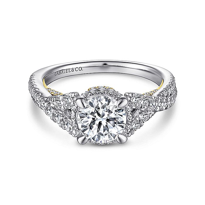 14K White-Yellow Gold Twisted Round Diamond Engagement Ring