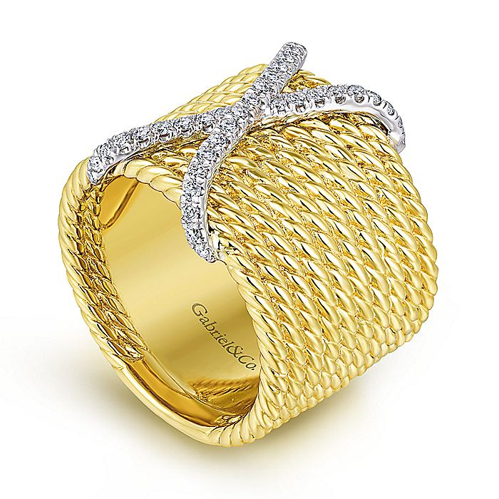 14K White-Yellow Gold Wide Twisted Rope Ring with Diamond X Center