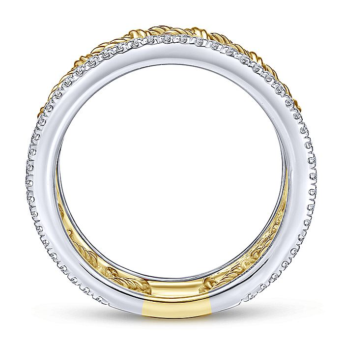 14K White-Yellow Gold Woven Grid Wide Band Diamond Ring