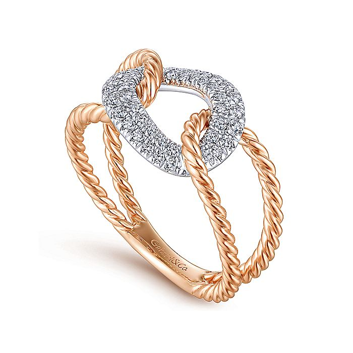 14K White and Rose Gold Twisted Rope Link Ring with Diamond Pavé Station