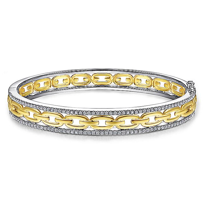 14K White and Yellow Gold Bangle with Diamond Frame