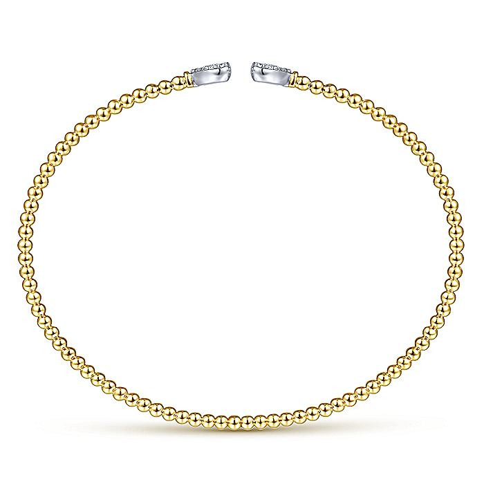 14K White and Yellow Gold Bangle with Pavé Diamond Hearts