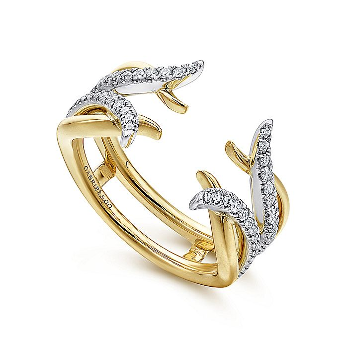 14K White and Yellow Gold Diamond Ring Enhancer