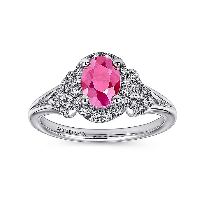 14K Wht Gold Ruby&Diamond Ring