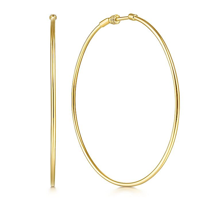 14K Yellow  Gold 60mm Round Classic Hoop Earrings