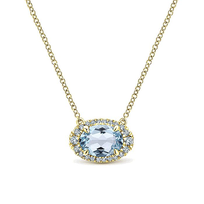 14K Yellow Gold  Oval Halo Aquamarine and Diamond Necklace