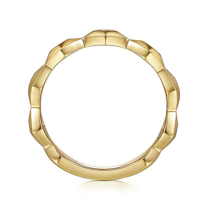 14K Yellow Gold  Rhombus Station Ring