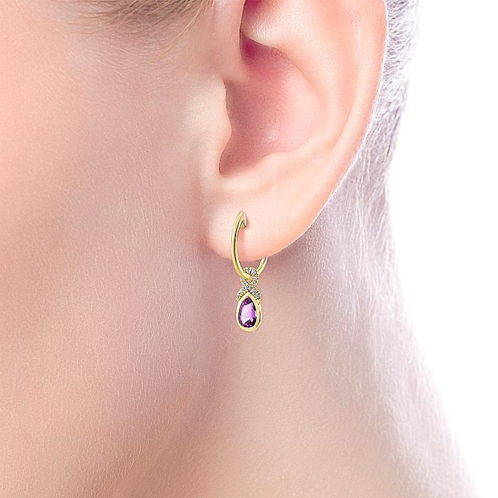 14K Yellow Gold 10mm Diamond and Pear Shaped Amethyst Huggie Drop Earrings