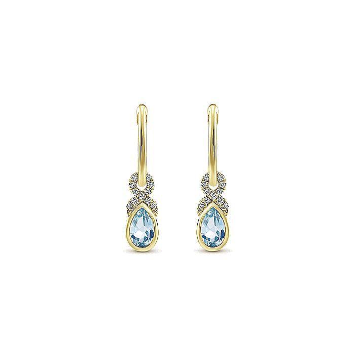 14K Yellow Gold 10mm Diamond and Pear Shaped Aquamarine Huggie Drop Earrings