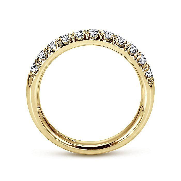 14K Yellow Gold 11 Stone French Pavé Diamond Wedding Band