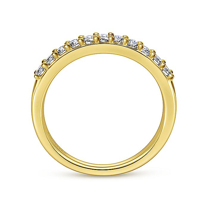 14K Yellow Gold 11 Stone Shared Prong Diamond Anniversary Band