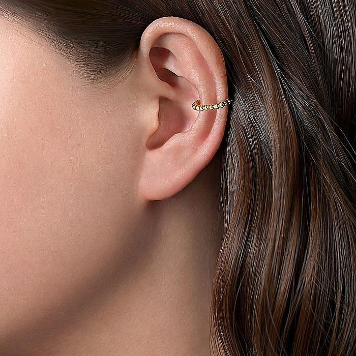 14K Yellow Gold 13.5mm Bujukan Single Cuff Earring