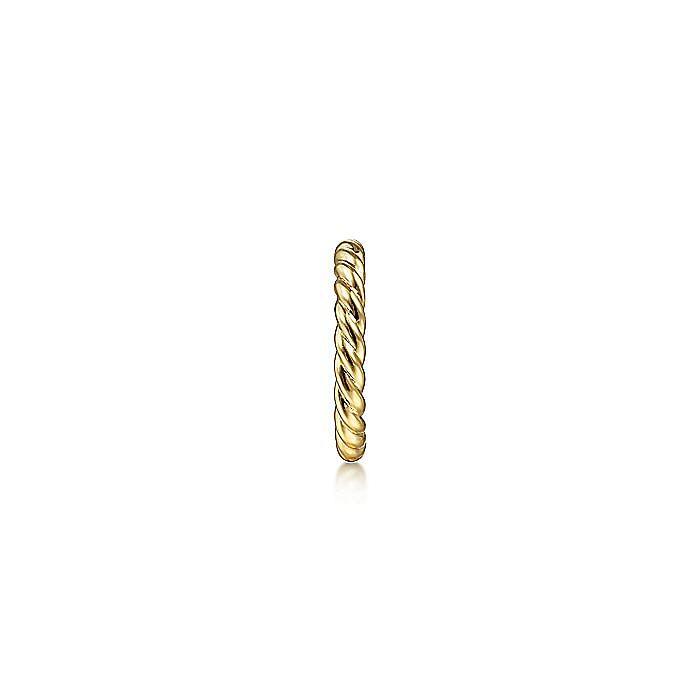 14K Yellow Gold 13MM Rope Single Cuff Earrings