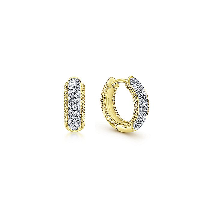 14K Yellow Gold 15mm Diamond Hoop Earrings