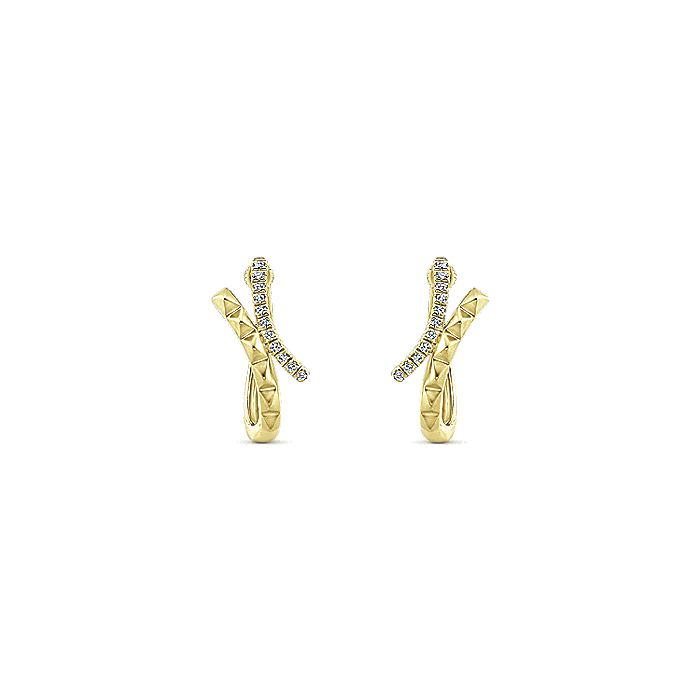 14K Yellow Gold 15mm Diamond Huggie Earrings
