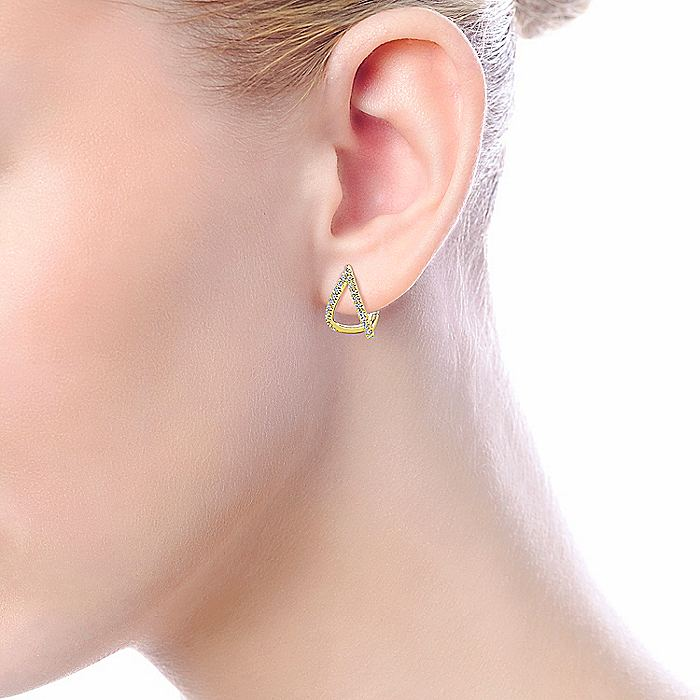 14K Yellow Gold 15mm Inverted V Diamond Huggie Earrings
